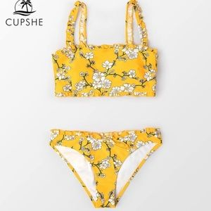COPY - CupShe Yellow Floral Bandeau Ruffled Boho …